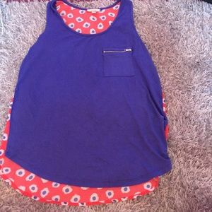 Coral and Blue flowered tank top